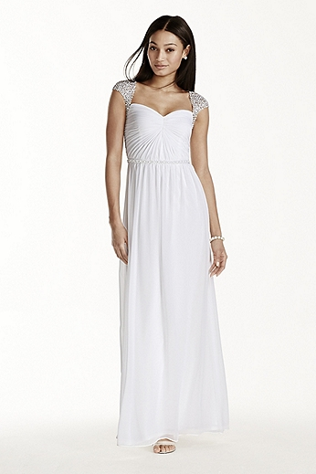 Beaded Cap Sleeve Chiffon A-line Dress 231M72420