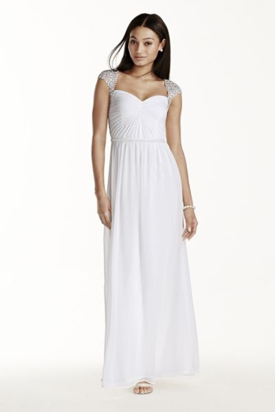 Beaded Cap Sleeve Chiffon
