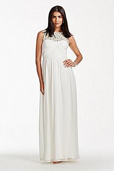High Neck Chiffon Wedding Dress with Beading 231M75160