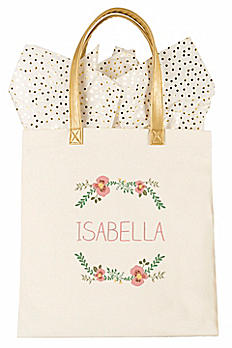Personalized Floral Canvas Tote Bag 2327