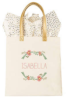 Personalized Floral Canvas Tote Bag