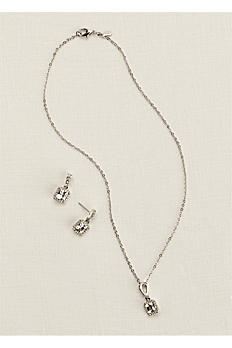Square Crystal Earring and Necklace Set 23783901