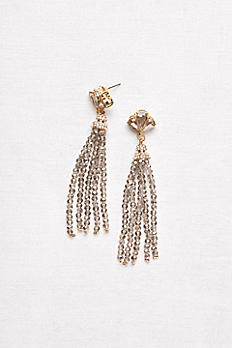 Fanned Crystal Tassel Earrings 2428611
