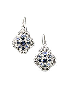 Blue Crystal Filigree Drop Earrings