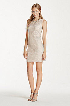 Short Lace Dress with Illusion Neckline 2454XX8C