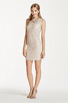 Short Lace Dress with Illusion Neckline 2454XX8C