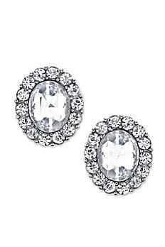 Crystal Oval Button Earrings 24637