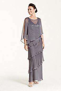 Multi Tiered Long Caplet Chiffon Dress 2495DB