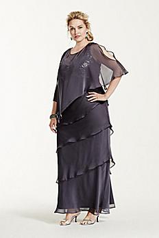 Multi Tiered Long Caplet Chiffon Dress 2495DW