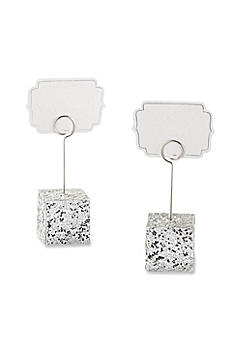 Silver Glitter Place Card Holders Set of 6 25182SV