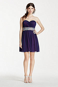 Short Strapless Dress with Crystal Beaded Waist 2539SJ8P