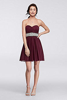 Short Strapless Dress with Richly Beaded Waist 2539XY8P