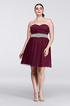 Plus Size Short Homecoming Dress with Beaded Waist 2539XY8W