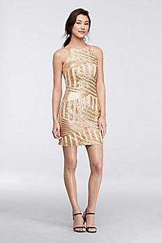Geometric Sequin Halter Mini Dress 2559XC8CD