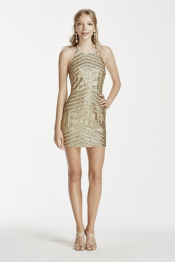 All Over Sequin Embellished Short Halter Dress 2559XC8C