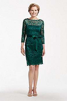 3/4 Sleeve Tiered Floral Lace Dress with Sash 261196