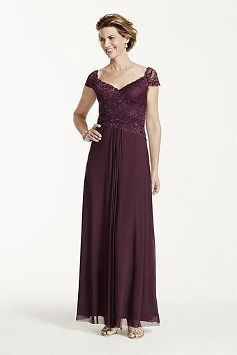 Long Cap Sleeve Dress with Beaded Bodice 261357I