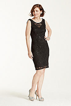 All Over Lace Short Dress With Cowl Back 261484