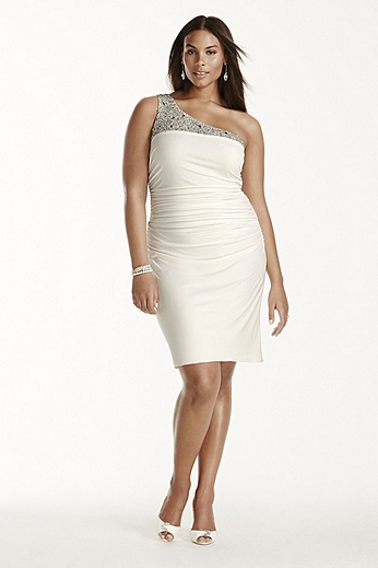 Beaded One Shoulder Short Dress 261737DW