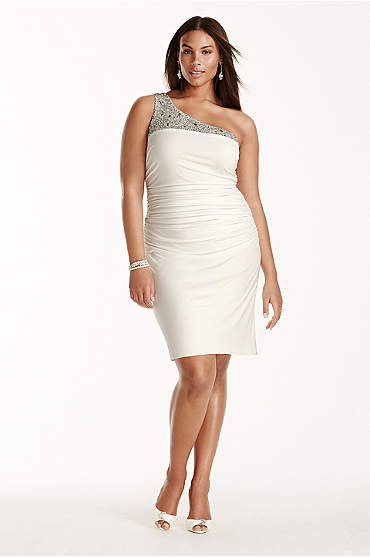 Beaded one-shoulder ivory ruched short dress in plus size