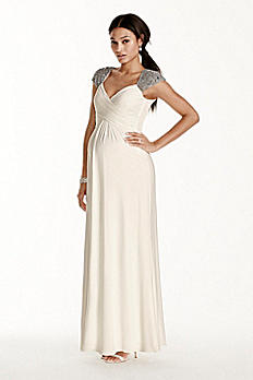 Beaded Cap Sleeve Long Jersey Maternity Dress 261746DM