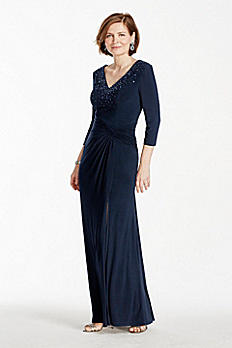 3/4 Sleeve Long Jersey Dress with Beaded Bodice 262330I