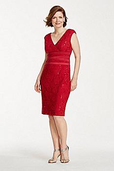 Short Sequin Lace Dress with V Neckline 262332I