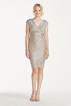 Cap Sleeve Faux Wrap V-Neck Metallic Dress 262374I