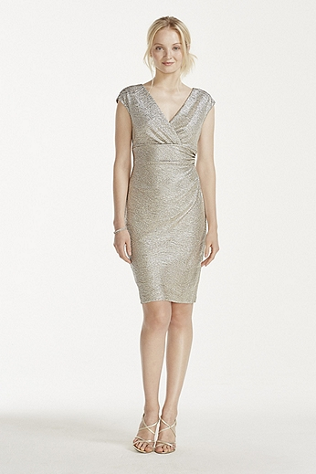 Cap Sleeve Faux Wrap V-Neck Metallic Dress 262374I