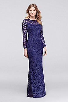 Long Sleeve Illusion Neckline Sequined Lace Dress 262571D
