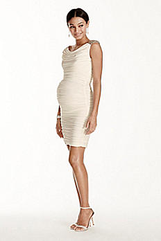 Body-con Short Jersey Maternity Dress with Beading 262879XDM