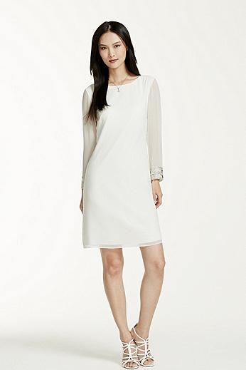 Sheer 3/4 Sleeve Beaded Cuff Short Dress 263999