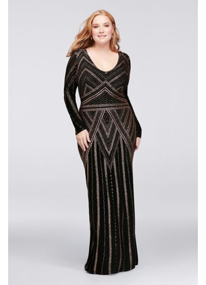 Long Sleeve Glitter Print Plus Size Sheath Gown | David\'s Bridal