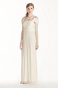 Beaded Drop Shoulder Pleated Long Jersey Dress 264861D