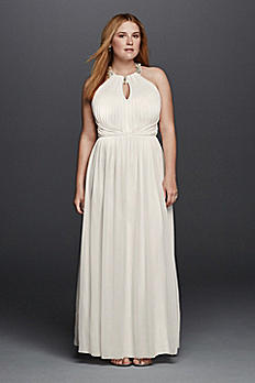 Beaded Halter Plus Size Wedding Dress with Keyhole 264942W