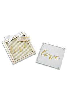 Gold Love Glass Coasters Set of 2 27096NA