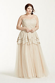 Strapless Metallic Lace Tulip Tulle Prom Dress 280091DW