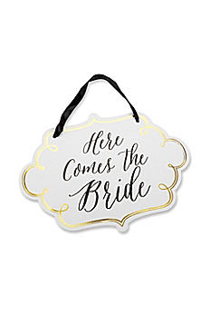 Classic Gold Foil Here Comes the Bride Sign 28318NA