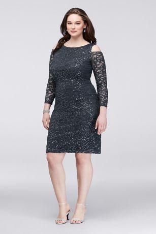 Marina beaded lace dress gunmetal