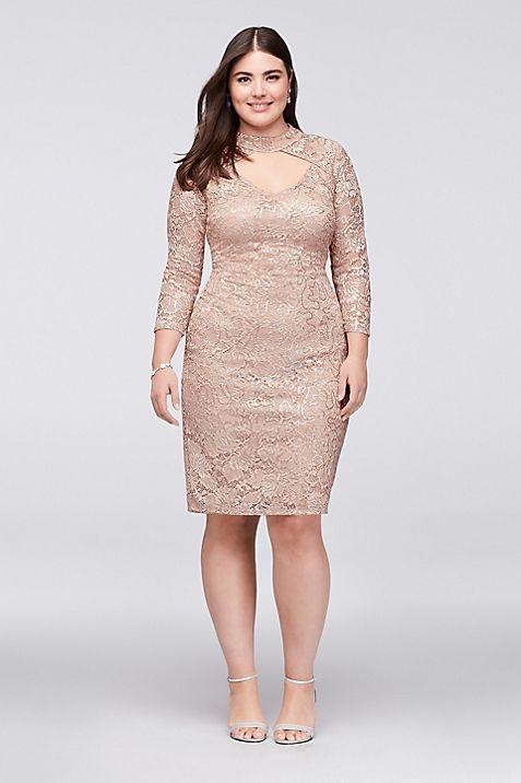 Sequin Lace Plus Size Cocktail Dress with Keyhole   David\'s Bridal