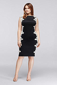 Scuba Sheath Plus Size Dress with Lace Side Panels 2PYJ57N