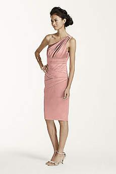 Short One Shoulder Stretch Satin Dress