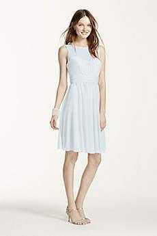 Soft & Flowy David's Bridal Short Bridesmaid Dress