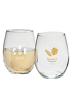 Personalized Pineapples 9 oz Stemless Wine Glass 30009NA-PP