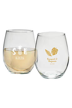 Personalized Pineapples 9 oz Stemless Wine Glass