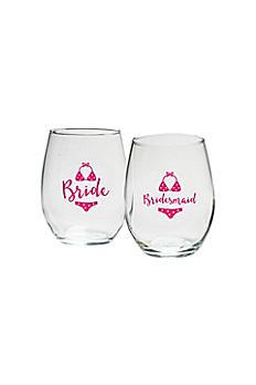 Bridal Party Bikini 15 oz Stemless Wine Set of 4 30023NA-BRB2