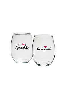 Bridal Party Heart 15 oz Stemless Wine Set of 4 30023NA-BRB4