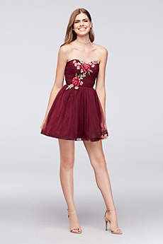 Floral-Appliqued Pleated Mesh Fit-and-Flare Dress