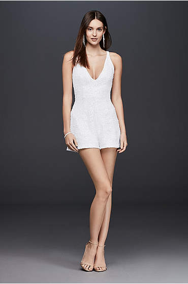 Short white sequin V-neck romper