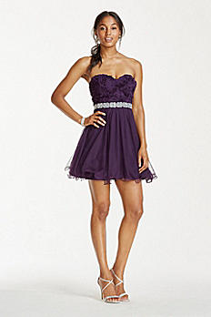 Strapless 3D Floral Bodice Dress with Tulle Skirt 3029LZ8CD